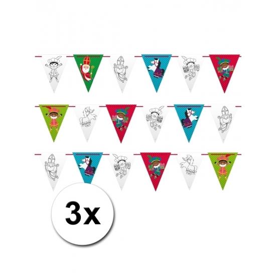 Sinterklaasfeest vlaggenlijnen 6m 3 stuks