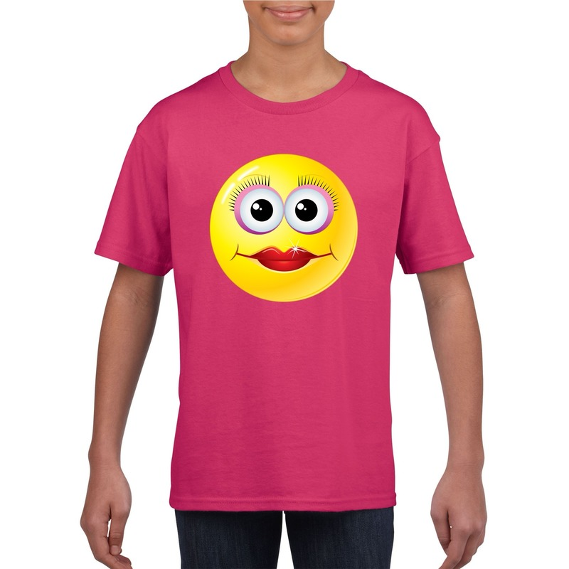 Smiley t-shirt diva roze kinderen