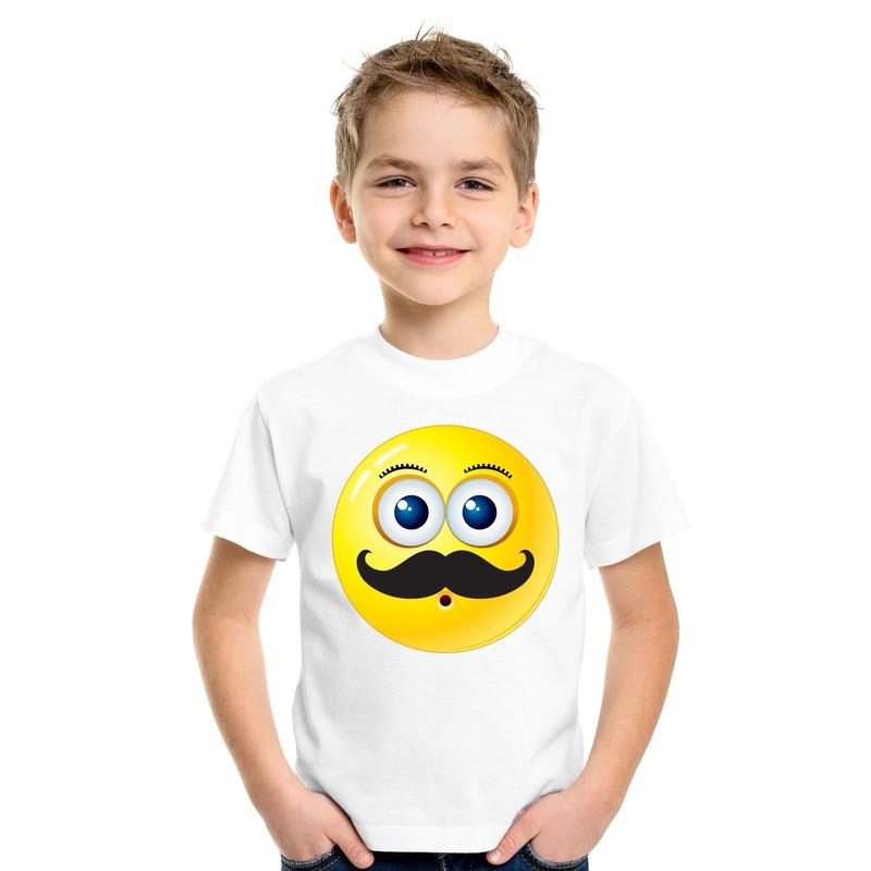 Smiley t-shirt snor wit kinderen