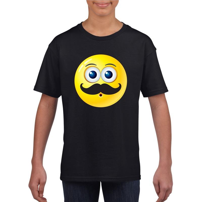 Smiley t-shirt snor zwart kinderen