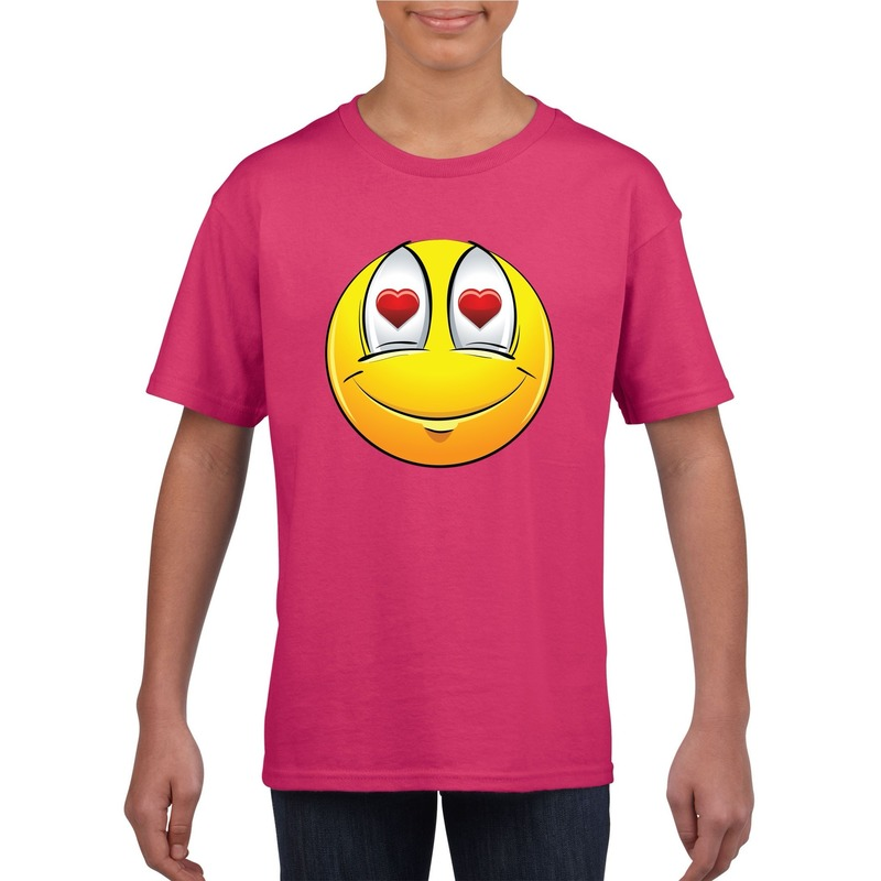 Smiley t-shirt verliefd roze kinderen