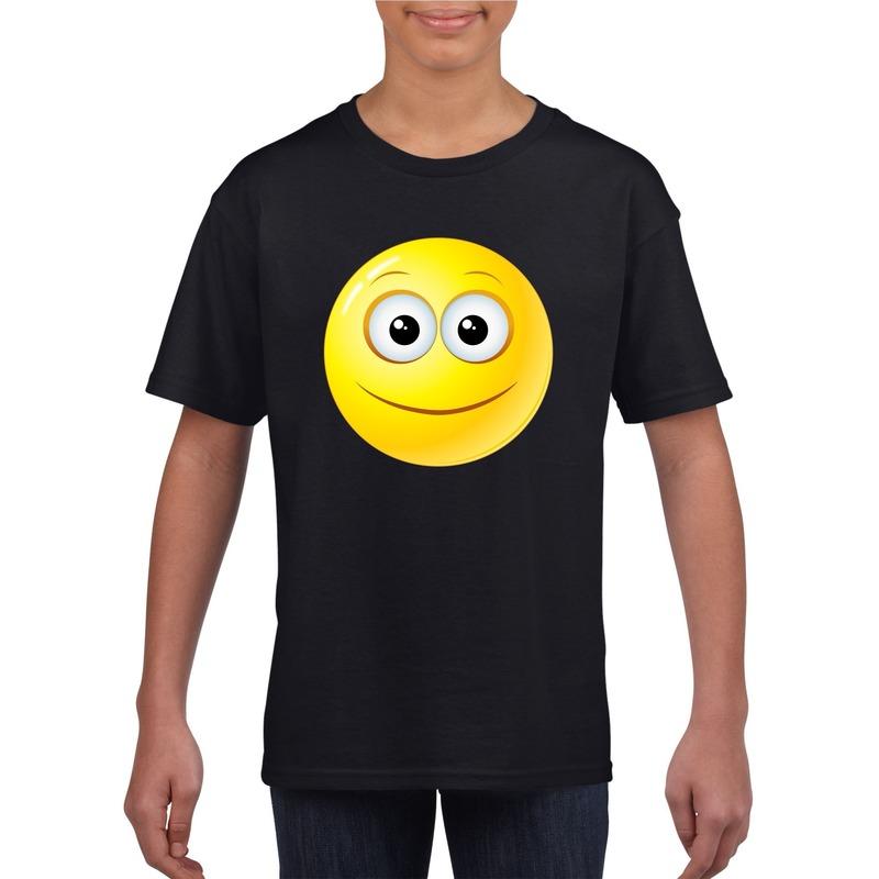 Smiley t-shirt vrolijk zwart kinderen