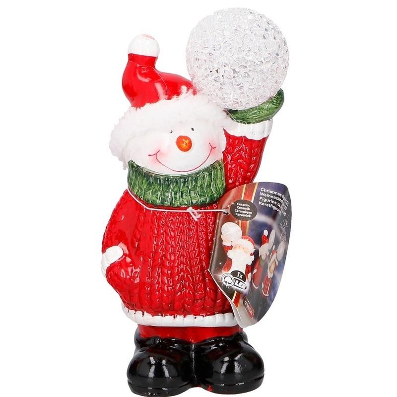 Sneeuwpop met LED kerst decoratie 17 cm