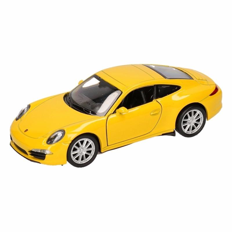Speelgoed gele Porsche 911 Carrera S auto 1:36