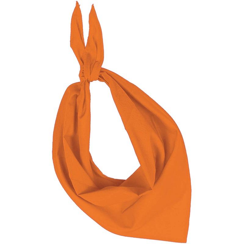 Team kleur oranje zakdoeken/bandanas voor volwassenen