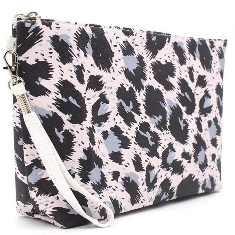 Toilettas/make-up tas luipaard/panter roze 28 cm voor dames