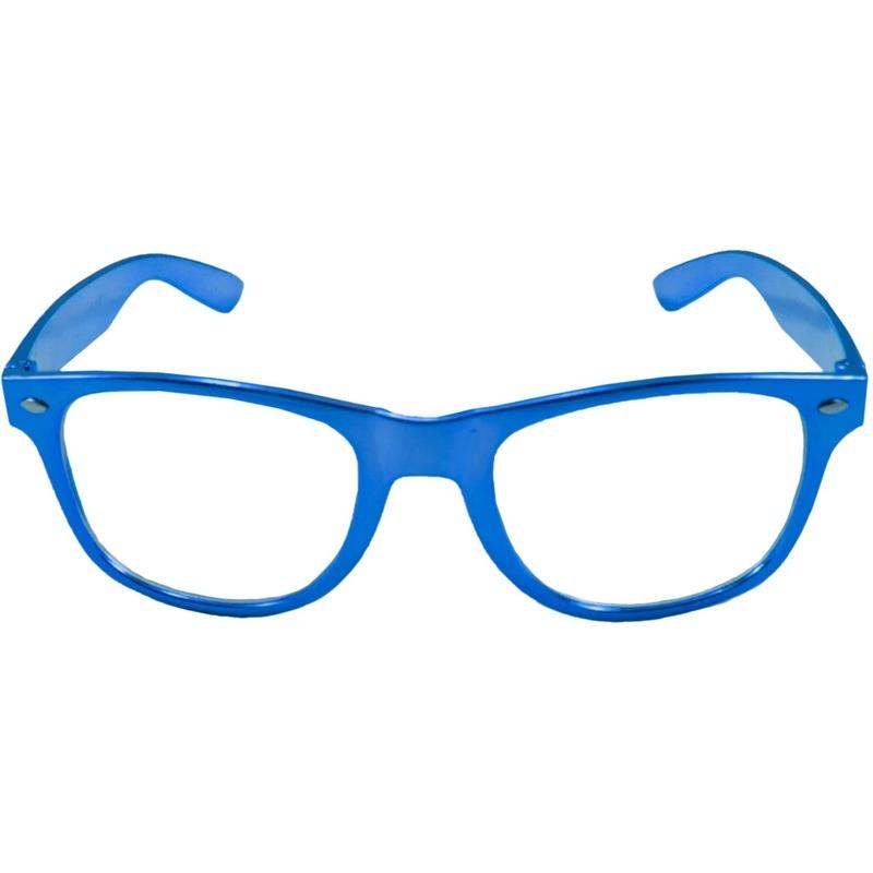 Toppers Verkleed bril metallic blauw