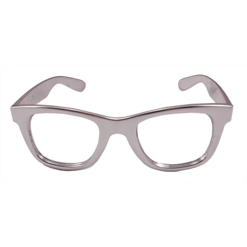 Toppers Verkleed bril metallic zilver
