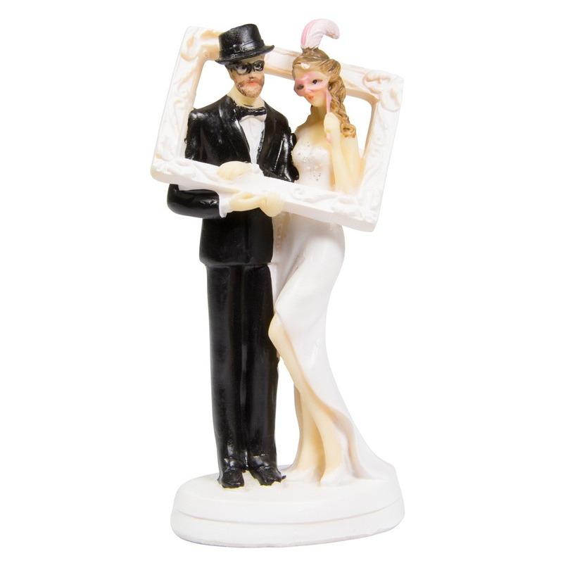 Trouwfiguurtjes bruidspaar met fotolijst taart decoratie 14cm