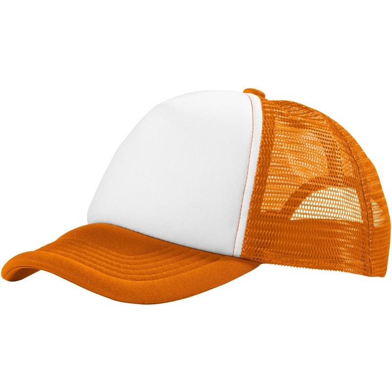 Truckers cap oranje/wit voor volwassenen