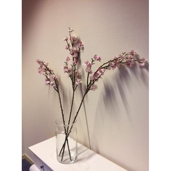 Vaas met 3 roze appelbloesem kunstbloemen takken 104 cm