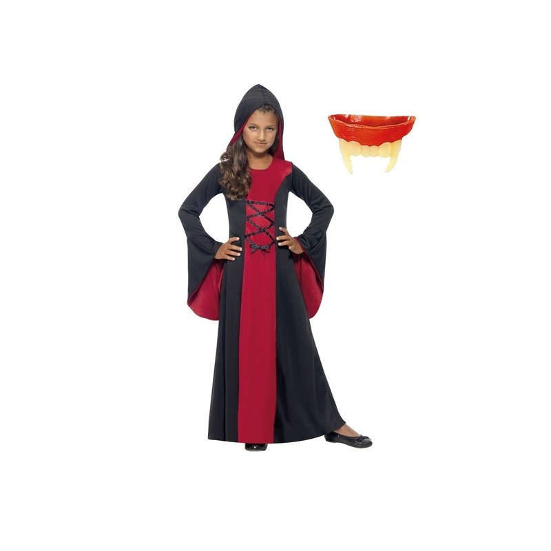 Vampier jurk inclusief gebit voor meisjes