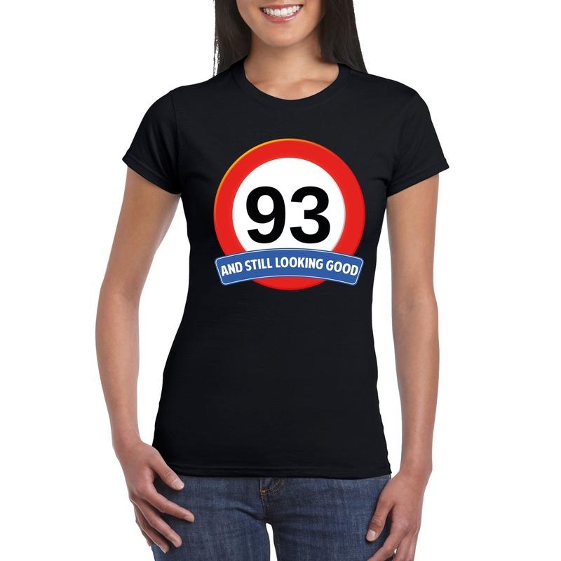 Verkeersbord 93 jaar t-shirt zwart dames