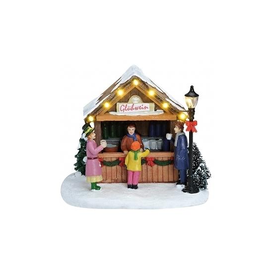 Verlichte kersthuisjes kerst versiering Gluhwein kraam