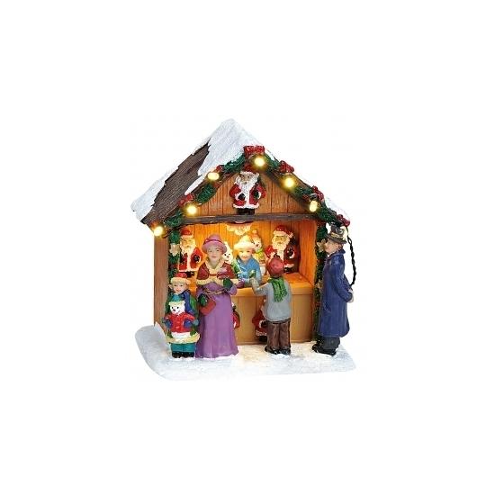Verlichte kersthuisjes kerstman kraam