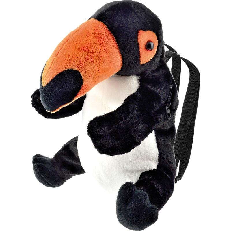 Vogels rugzakken/rugtassen knuffels toekan zwart 32 cm