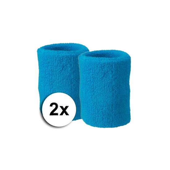 Voordelige zweetbandjes turquoise 2 stuks