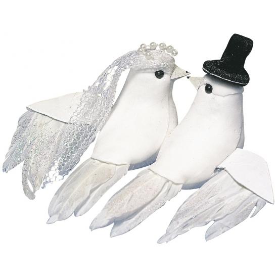 Witte duiven als bruid en bruidegom 8 cm