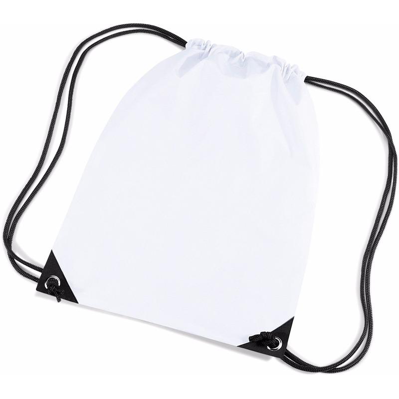 Witte gymtas met koordsluiting