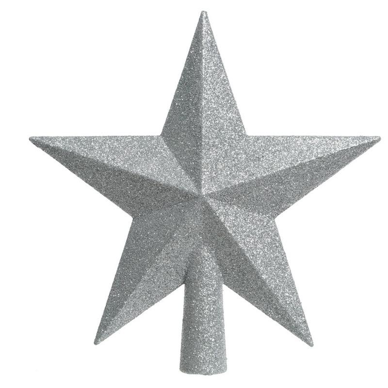 Zilveren kerstboom piek van kunststof 19 cm