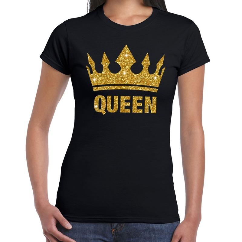 Zwart Koningsdag Queen shirt met gouden glitters en kroon dames