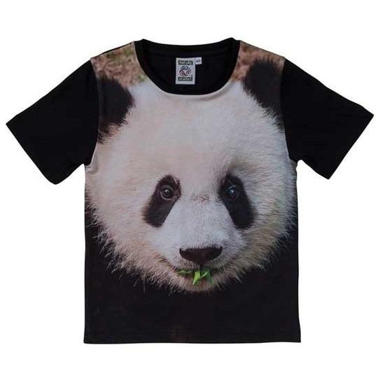 Zwart t-shirt met panda beer voor kinderen