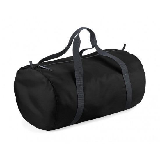 Zwarte ronde polyester sporttas/weekendtas 32 liter