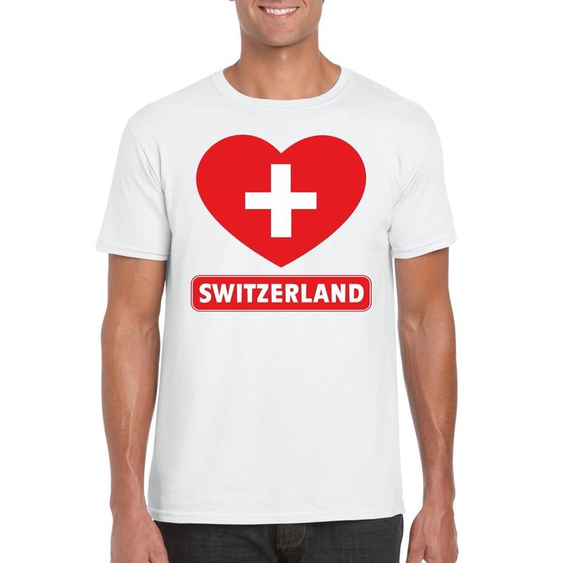Zwitserse vlag in hartje shirt wit heren