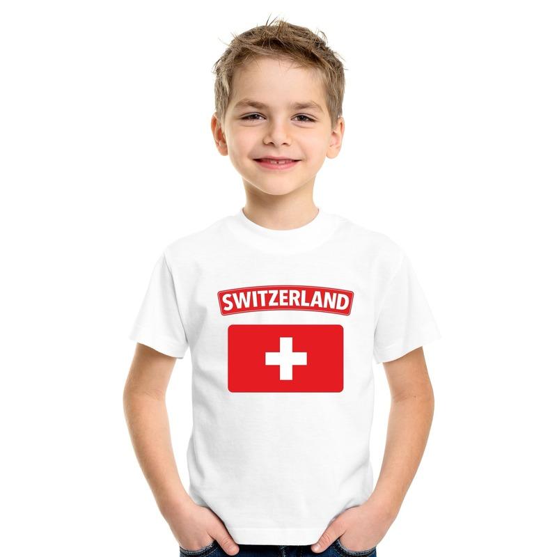Zwitserse vlag kinder shirt wit