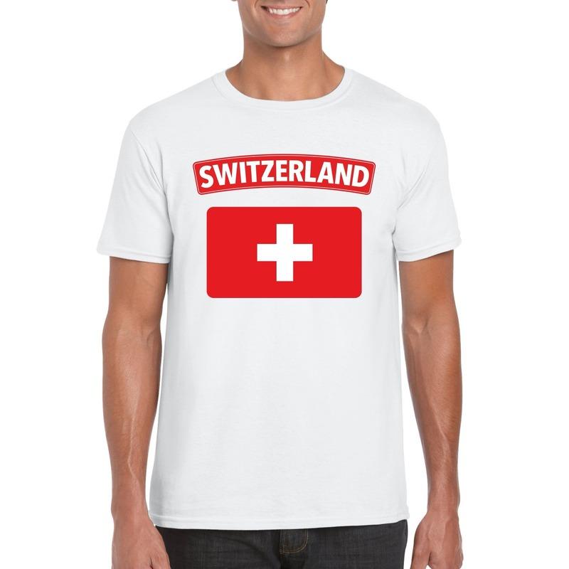 Zwitserse vlag shirt wit heren