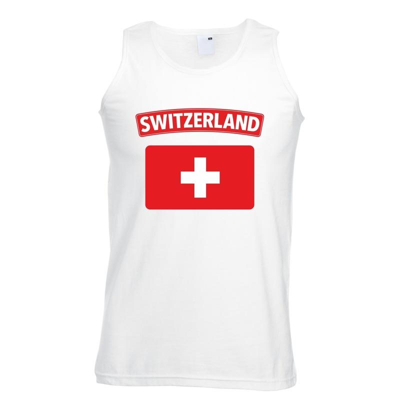 Zwitserse vlag singlet wit heren